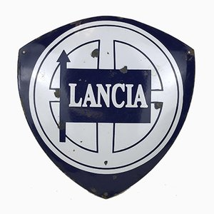 Vintage Italian Enameled Metal Lancia Advertising Sign, 1970s
