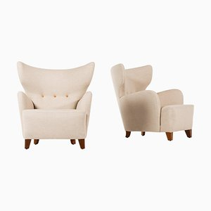 Wingback Easy Chairs Attributed to Flemming Lassen, Denmark, 1930s, Set of 2