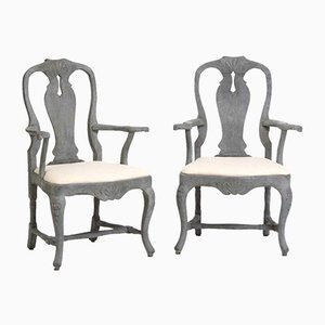 18th Century Swedish Rococo Armchairs, Set of 2