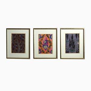 Antiker Holzschnitt im Stil von Matisse, 1910er, 3er Set