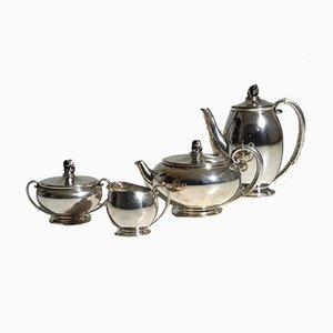 Coffee and Tea Set by Evald Nielsen, 1930s, Set of 4