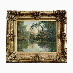 Framed Impressionist Oil on Canvas Painting