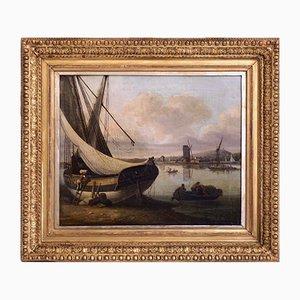 Feiner Hafen Öl auf Holz Gemälde von John Thomas Serres
