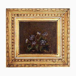 Danish Flower Painting Oil on Canvas by Johanne Hellesen, 1819