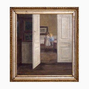Interior Gemälde eines Jungen und eines Mädchens im Stil von Wilhelms Hammershøj
