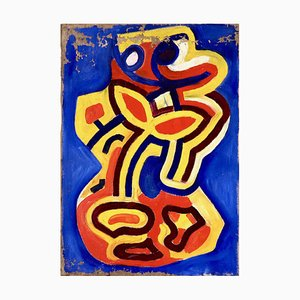 Cobra Painting Acrylic on Canvas in Style on Karel Appe