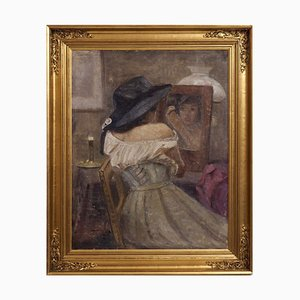 Antique Impressionist Painting Oil on Canvas