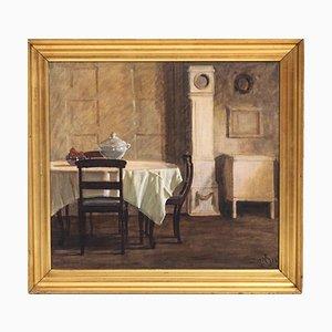 Dänische Innenmalerei im Stil von Wilhelm Hammerhø, 1920er