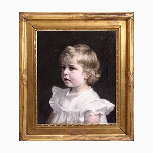 Antique Danish Painting of Girl Called Annie by Carl Wentoft