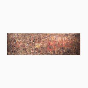 Antikes orientalisches und großes Gemälde auf Leinwand auf Holz montiert