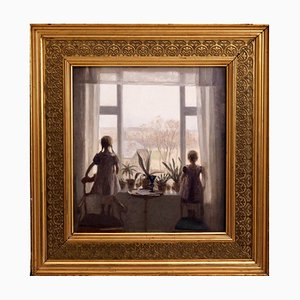 Interior Painting of Two Children Oil on Canvas, Carl V. Meyer