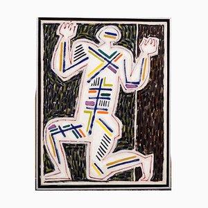 Gemälde Öl auf Leinwand von KJ, 1960er