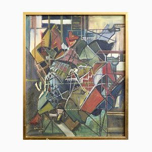 Cubist European Painting Oil on Canvas
