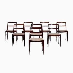 Modell 430 Stühle aus Palisander und Originalem Bezug von Arne Vodder für Sibast, 1920er, 8er Set