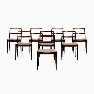 Rosewood and Original Upholstery Model 430 Chairs by Arne Vodder for Sibast, 1920s, Set of 8