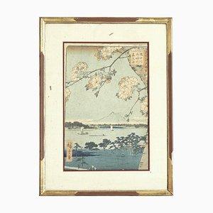Hiroshigé Holzschnitt-Blick aus dem 19. Jahrhundert auf Edo im Frühling