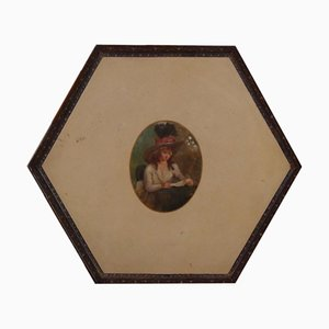 Gustavianisches bemaltes Tablett aus Metall, 1790er