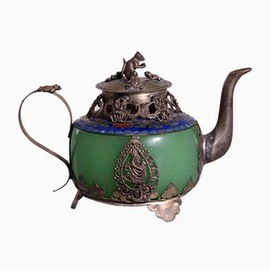 Chinese Republic Teapot in Jade and Tin