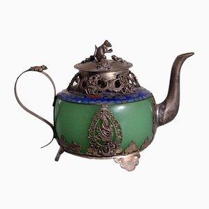 Chinesische Republik Teekanne aus Jade & Zinn