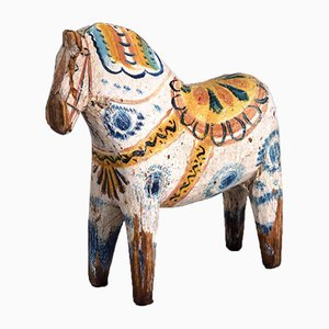 19th Century Painted and Carved Wood Horse