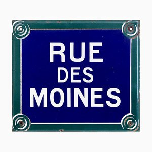 19th Century Enamel Paris Road Sign Rue Des Moines