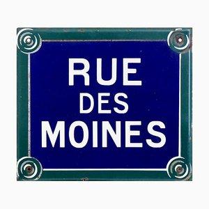 Emailliertes Pariser Straßenschild aus 19. Jh. Rue Des Moines