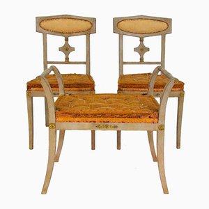 Antike Bronzierte Montierte Stühle und Hocker, 1900er, 3er Set