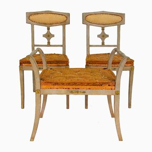 Antique Bronzed Mounted Chairs and Stool, 1900s, Set of 3