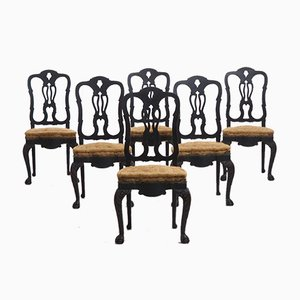 Large 19th Century Swedish Richly Carved Chairs, Set of 6