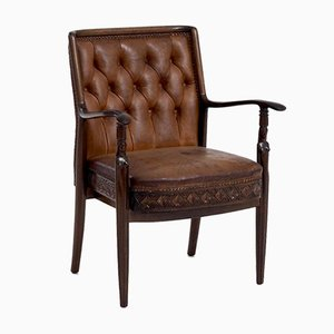 Vintage Danish Armchair in Mahogany and Leather