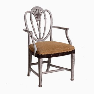 Gustavianische Armlehnstühle mit geschnitzter Rückenlehne, 19. Jh., 8er Set