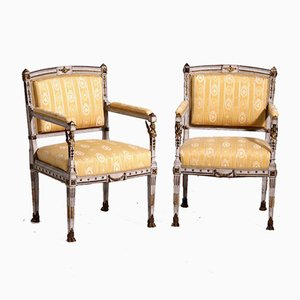 19th Century French Armchairs with Original Bronze Mountings, Set of 2