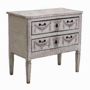 Gustavian Chest with Faux Painted Marble Top, 1800s