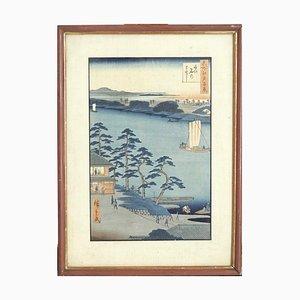 Hiroshigé Holzschnitt Nijuke Fähre, 19. Jh