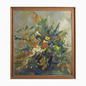 Pittura raffigurante olio di fiori su tela, Scandinavia
