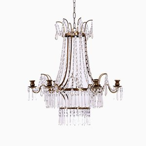 19th Century Gustavian Style Chandelier in Brass and Cut Glass