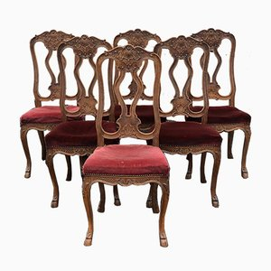 French Oak Dining Chairs, 1880s, Set of 2