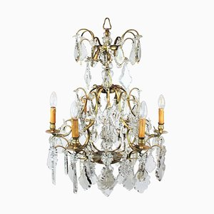 Chandelier in Brass and Polished Prisms, France, 1920s