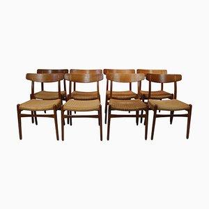 Chaises de Salon CH23 par Hans J. Wegner pour Carl Hansen & Søn, 1950s, Set de 8