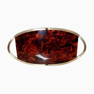 Large Italian Lucite and Brass Oval Tray, 1970s