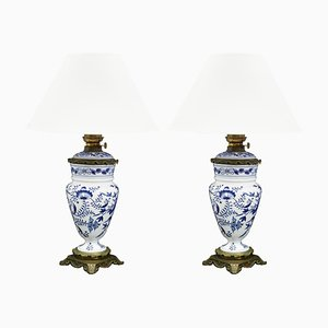 Antique Chinoiserie Blue and White Oil Lamps, Set of 2