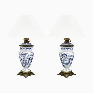 Lampes Antique Chinoiserie Bleues et Blanches à Huile, Set de 2