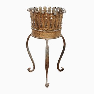Spanish Gilt Metal Plant Stand, 1960s