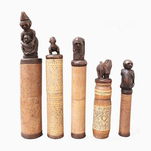 Wood and Bamboo Lime Powder Holders for Betel Nut from W. Timor Island, Indonesia, 1940s, Set of 5