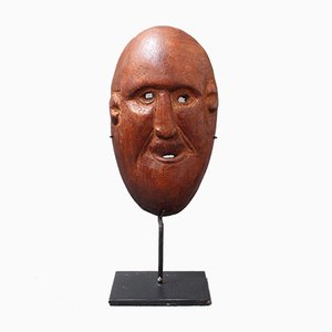 Vintage Sculpted Wooden Traditional Mask from Timor Island, Indonesia