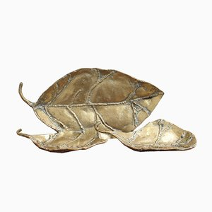 Brass Decorative Leaves or Trays by David Marshall, 1980s, Set of 3