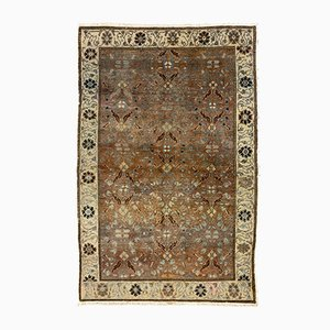 Turkish Distressed Brown, Red & Beige Wool Tribal Rug, 1940s