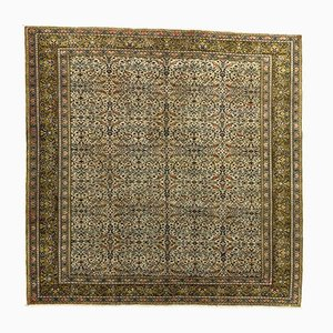 Turkish Distressed Green and Beige Wool Square Tribal Rug, 1950s