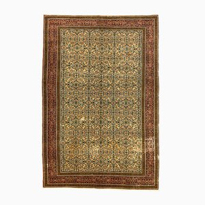 Large Turkish Hand-Knotted Distressed Pine and Beige Wool Rug, 1950s