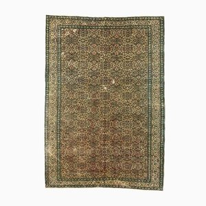 Large Turkish Hand-Knotted Distressed Green and Beige Wool Rug, 1950s